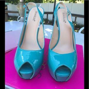 NEW Shoedazzle Aqua Platform Slingbacks - Size 11